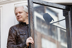 May 19, 2017 - London, England, UK - Wikileaks founder JULIAN ASSANGE speaks on the balcony of Ecuadorian embassy in London where he has been living since 2012. Today the Swedish authorities have announced that they are dropping their investigation into rape allegations against him. (Credit Image: © Tolga Akmen/London News Pictures via ZUMA Wire)