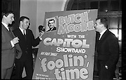 03/02/1964<br /> 02/03/1964<br /> 03 February 1964 <br /> Capitol Show Band and Pye Records reception for single 'Foolin' Time' at Country Club Portmarnock. Phil Coulter; Des Kelly and Butch Moore with the single and poster for 'Foolin' Time'.