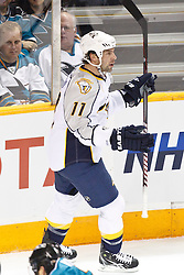 January 8, 2011; San Jose, CA, USA; Nashville Predators center David Legwand (11) celebrates after scoring a goal against the San Jose Sharks during the first period at HP Pavilion. Mandatory Credit: Jason O. Watson / US PRESSWIRE