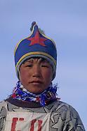 Mongolia. horses race with kids. On the steppe with snow . Malah      Malah       / arrivée des chevaux pour la course d'hiver à Malah. course de chevaux pour enfants  sur la steppe enneigee  Malah  Mongolie   / 313502/17       P0003544