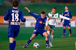 Leon Kukec of Drava vs Joao Gabrijel Da Silva of Olimpija at 18th Round of PrvaLiga football match between NK Olimpija and NK Labod Drava, on November 21, 2009, in ZAK, Ljubljana, Slovenia. Olimpija defeated Drava 3:0. (Photo by Vid Ponikvar / Sportida)