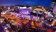 Vue générale du site du Festival de Jazz de Montréal réalisée à partir du toit de l'édifice de la Maison du Festival. Festival de Jazz, Place-des festivals, Place-des-arts