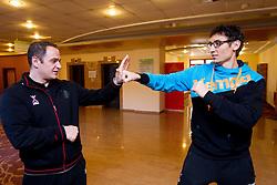 Sokol Kadrija fights with Jure Dobelsek at press conference of Slovenian Handball Men National Team, on January 13, 2011, in Zrece, Slovenia. (Photo by Vid Ponikvar / Sportida)