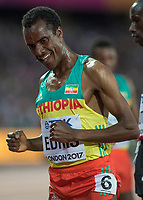 Athletics - 2017 IAAF London World Athletics Championships - Day Nine, Evening Session<br /> <br /> Mens 5000m Final<br /> <br /> Muktar Edris (Ethiopia) does a dance of celebration after he wins the gold medal at the London Stadium<br /> <br /> COLORSPORT/DANIEL BEARHAM