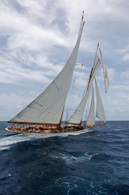 ELENA. Gaff Rigged Schooner. Back in the 60s, classic yachts, which were gathered in English Harbour Antigua, had begun chartering and the captains and crews challenged each other to a race down to Guadeloupe and back to celebrate the end of the charter season. From this informal race, Antigua Race Week was formalised in 1967, and in those days all of the yachts were classics. As the years grew on, the classic yachts were slowly outnumbered but the faster sleeker modern racing yachts and 24 years later the Classic Class had diminished to a few boats and was abandoned in 1987. However this same year seven classic yachts turned out and were placed in Cruising Class 3 with the bare boats. The class was so unmatched that it was downright dangerous, so Captain Uli Pruesse hosted a meeting onboard Aschanti of Saba with several classic skippers and in 1988 the Antigua Classic Yacht Regatta was born, with seven boats.<br />