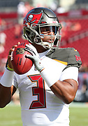 Nov 25, 2018; Tampa, FL, USA; Tampa Bay Buccaneers quarterback Jameis Winston (3) attempts to throw a pass before an NFL game between the Tampa Bay Buccaneers and the San Francisco 49ers at Raymond James Stadium. The Buccaneers beat the 49ers 27-9. (Steve Jacobson/Image of Sport)