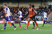 Scunthorpe United striker Ivan Tony (9) looks to the lines men for a penalty decision during the EFL Sky Bet League 1 match between Scunthorpe United and Rotherham United at Glanford Park, Scunthorpe, England on 10 February 2018. Picture by Craig Zadoroznyj.