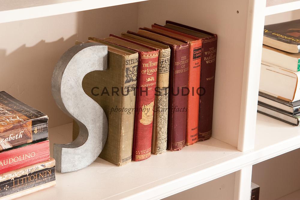 Library corner in living room, bookshelf detail