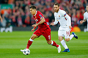 Liverpool striker Roberto Firmino (9) in action  during the Champions League semi final leg 1 of 2 match between Liverpool and Roma at Anfield, Liverpool, England on 24 April 2018. Picture by Simon Davies.
