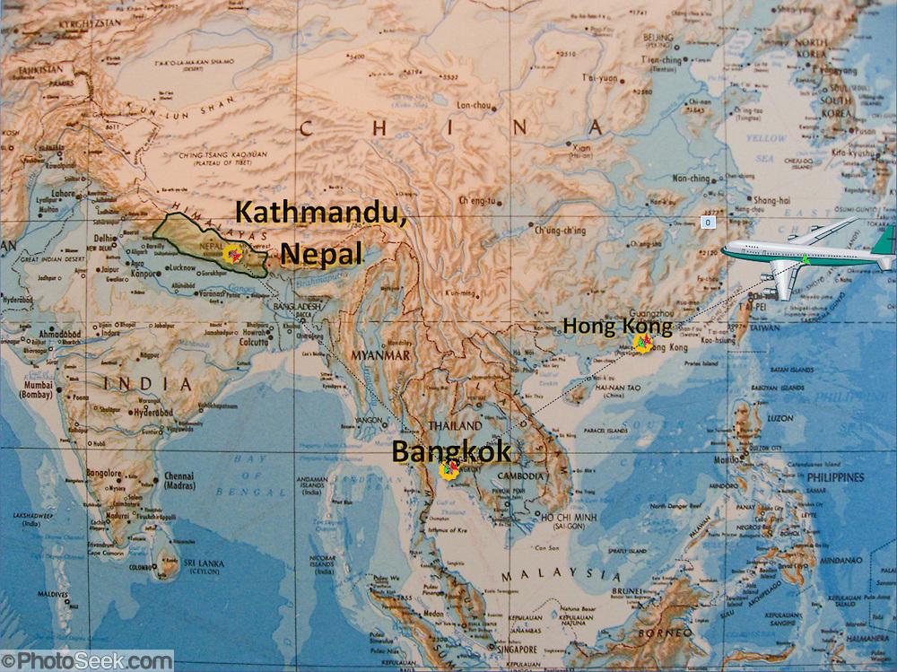 Asia map with Kathmandu Nepal Bangkok Thailand and Hong Kong