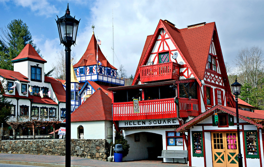 Helen, Georgia is a re-creation of a Bavarian alpine village complete with cobblestone alleys and old-world towers.