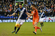Ipswich Town defender Jonas Knudsen holds up Birmingham City midfielder Will Buckley during the Sky Bet Championship match between Birmingham City and Ipswich Town at St Andrews, Birmingham, England on 23 January 2016. Photo by Alan Franklin.