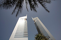 Dubai UAE View of Emirates Towers on Sheikh Zayed Road in Dubai