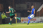 GOAL Calvin Andrew scores 3-0 during the EFL Sky Bet League 1 match between Rochdale and Scunthorpe United at Spotland, Rochdale, England on 10 December 2016. Photo by Daniel Youngs.