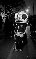 28 Feb 2014. New Orleans, Louisiana.<br /> Mardi Gras. Ben with the Skeleton Krewe as they prepare to walk the route for The Krewe D'Etat parade along Magazine Street through Uptown New orleans. <br /> Photo; Charlie Varley/varleypix.com