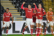 Bristol City celebrate goal scored by Bristol City midfielder Josh Brownhill (8) to go 2-3 during the EFL Sky Bet Championship match between Hull City and Bristol City at the KCOM Stadium, Kingston upon Hull, England on 25 November 2017. Photo by Ian Lyall.