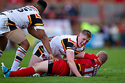 Bradford Bulls prop Liam Kirk (8) in the tackle on Dewsbury Rams Jack Teanby (18) during the Kingstone Press Championship match between Dewsbury Rams and Bradford Bulls at the Tetley's Stadium, Dewsbury, United Kingdom on 4 June 2017. Photo by Simon Davies.