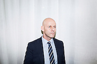 CATANIA, ITALY -9 NOVEMBER 2015: Antionio Salvago, Deputy Police Commissioner of Catania  and former Head of the Squadra Mobile of Catania, is here in his office in Catania, Italy, on November 9th 2015.