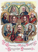 Postcard to commemorate the 200 anniversary of the Kingdom of Prussia 1902. Shows Frederick I, Frederick Wilhelm I, Frederick Wilhelm II, Frederick The Great, Kaiser Wilhelm II, Frederick III, Wilhelm I, Frederick William IV and Frederick William III