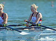 Varese,  ITALY. 2012 FISA European Championships, Lake Varese Regatta Course. ..GBR LW2X, Bow Ruth WALCZAK and Imogen WALSH  at the start of their heat of the Women's lightweight Sculls..10:58:05  Friday  14/09/2012 .....[Mandatory Credit Peter Spurrier:  Intersport Images]  ..2012 European Rowing Championships Rowing, European,  2012 010709.jpg.....