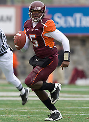 Virginia Tech quarterback Tyrod Taylor (5) in action against UVA.  The Virginia Tech Hokies defeated the Virginia Cavaliers 17-14 in NCAA football at Lane Stadium on the campus of Virginia Tech in Blacksburg, VA on November 29, 2008.