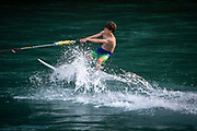 Bungee surfing in the river Aare