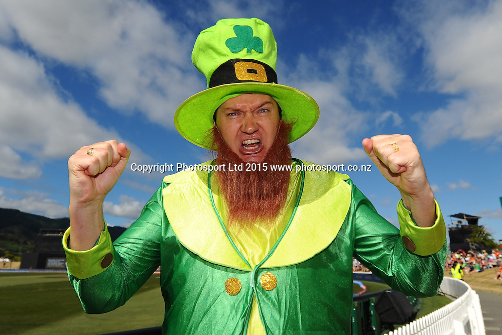 Fan during the 2015 ICC Cricket World Cup match between West Indies and Ireland. Saxton Oval, Nelson, New Zealand. Monday 16 February 2015. Copyright Photo: Chris Symes / www.photosport.co.nz