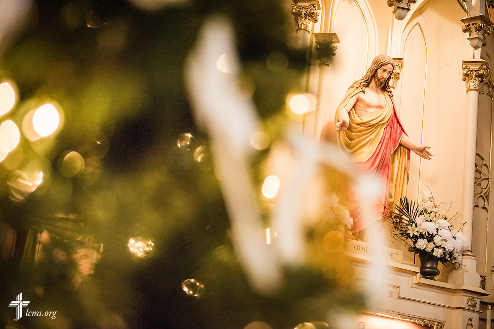 The altar and Christmas tree on Wednesday, Dec. 9, 2015, at Trinity Lutheran Church in Soulard, a part of St. Louis. LCMS Communications/Erik M. Lunsford