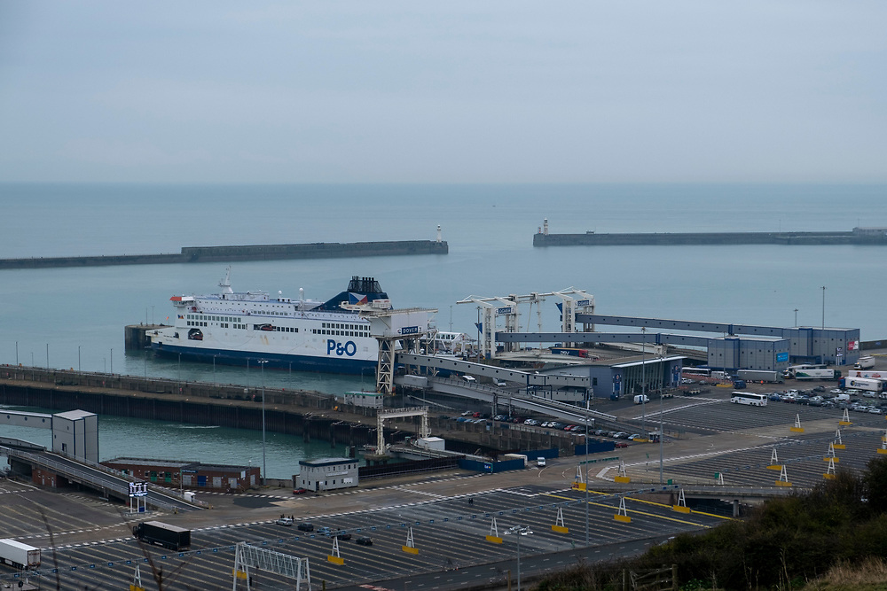 A P&O ferry loads up with cargo in the Eastern Dock of the Port of Dover is where the cross channel port is situated with ferries departing here to go to Calais in France. Dover, Kent, United Kingdom.  Dover is the nearest port to France with just 34 kilometres (21 miles) between them. It is one of the busiest ports in the world. As well as freight container ships it is also the main port for P&O and DFDS Seaways ferries.    (photo by Andrew Aitchison / In pictures via Getty Images)