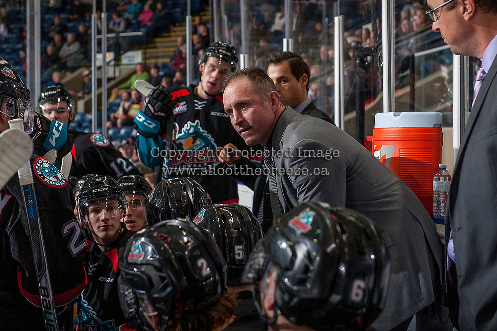 KELOWNA, CANADA - OCTOBER 4: Kelowna Rockets' head coach Jason Smith stands on the bench against the Victoria Royals on October 4, 2017 at Prospera Place in Kelowna, British Columbia, Canada.  (Photo by Marissa Baecker/Shoot the Breeze)  *** Local Caption ***
