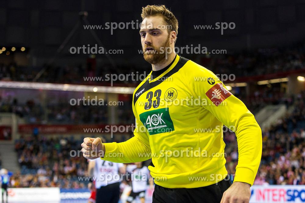 29.01.2016, Tauron Arena, Krakau, POL, EHF Euro 2016, Norwegen vs Deutschland, Halbfinale, im Bild Andreas Wolff (Nr. 33, HSG Wetzlar) freut sich. // during the 2016 EHF Euro semi final match between Norway and Germany at the Tauron Arena in Krakau, Poland on 2016/01/29. EXPA Pictures &copy; 2016, PhotoCredit: EXPA/ Eibner-Pressefoto/ Koenig<br /> <br /> *****ATTENTION - OUT of GER*****