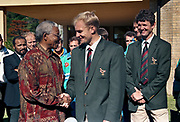 Nelson Mandela meets  the Springboks and Captain Francois Pienaar before their 1995 World Cup campaign in Cape Town 1995.<br /> <br /> Photograph &copy; nic bothma