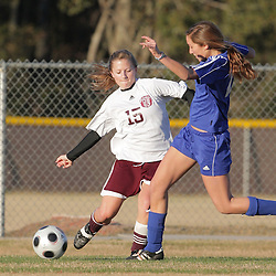 2 December 2008: St. Thomas Aquinas  Jenna Fugarino (#15) during the St. Thomas Lady Falcons 5-2 loss to Country Day in a non-district soccer match at Falcons Soccer Field in Hammond, LA.