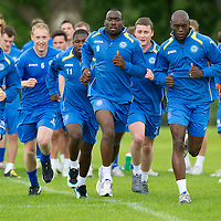 St Johnstone Training...St Johnstone pictured during training from left, Liam Craig, Steven Anderson, Nigel Hasselbaink, Gregory Tade, Tom Scobbie, Trialist and Callum Davidson;<br /> Picture by Graeme Hart.<br /> Copyright Perthshire Picture Agency<br /> Tel: 01738 623350  Mobile: 07990 594431