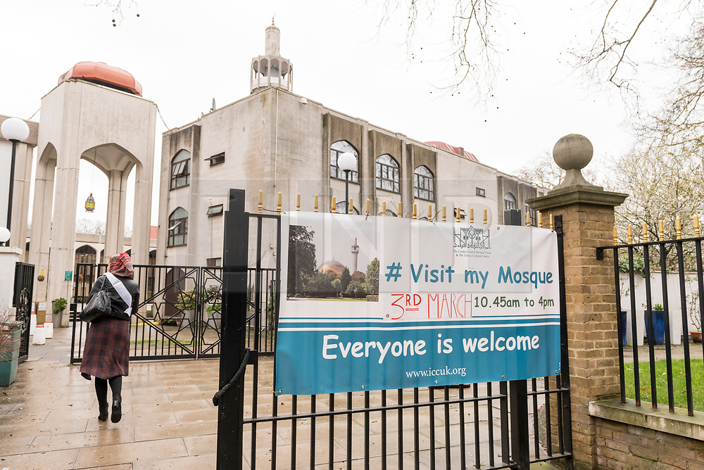 © Licensed to London News Pictures. 03/03/2019. LONDON, UK. A sign greets visitors on Visit My Mosque Day at London Central Mosque near Regent's Park.  Over 150 mosques across the UK have held open days backed by the Muslim Council of Britain (MCB), to show non-Muslims more about the religion and its part in the local community.  Photo credit: Stephen Chung/LNP