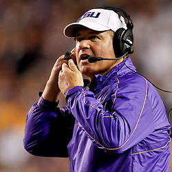November 10, 2012; Baton Rouge, LA, USA; LSU Tigers head coach Les Miles during the second half of a game against the Mississippi State Bulldogs at Tiger Stadium.  LSU defeated Mississippi State 37-17. Mandatory Credit: Derick E. Hingle-US PRESSWIRE