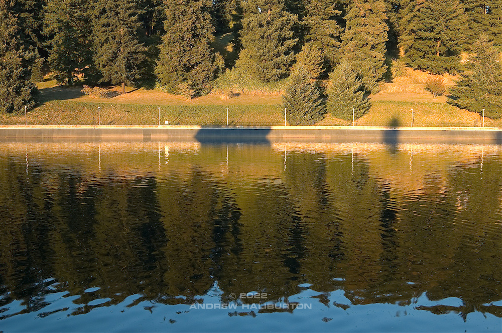 Firs reflected in a late summer sunset in Mount Tabor Park at Reservoir 5, one of three open reservoirs at Mt Tabor Park and of five total in Portland.  The 3 open reservoirs in Mount Tabor Park were placed in the National Register of Historic Places on January 15, 2004.  Environmental Protection Agency (EPA) regulation: Long Term 2 Enhanced Surface Water Treatment Rule, referred to as the LT2 rule imposes new requirements that open water reservoirs be covered, buried or additionally treated.  This applies to Portland's five open reservoirs and to the unfiltered Bull Run sourse supplying them.