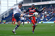 Preston North End Defender Calum Woods crosses during the Sky Bet Championship match between Preston North End and Queens Park Rangers at Deepdale, Preston, England on 19 March 2016. Photo by Pete Burns.