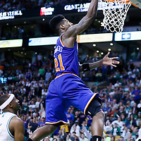 28 April 2013: New York Knicks small forward Iman Shumpert (21) goes for the layup during Boston Celtics 97-90 overtime victory over the New York Knicks during Game Four of the Eastern Conference Quarterfinals of the 2013 NBA Playoffs at the TD Garden, Boston, Massachusetts, USA.
