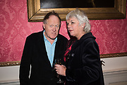 JAMES LE FANU, SARA WHEELER, ,Literary Review  40th anniversary party and Bad Sex Awards,  In & Out Club, 4 St James's Square. London. 2 December 2019
