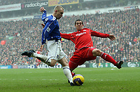 Photo: Paul Thomas.<br /> Liverpool v Everton. The Barclays Premiership. 03/02/2007.<br /> <br /> Tony Hibbert (L) of Everton looks to cross infront of Daniel Agger.