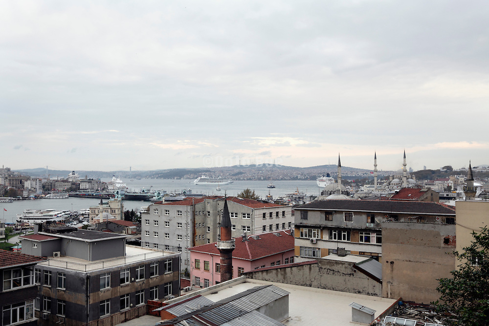 view towards Strait of Istanbul and Sea of Marmara with Galata Bridge from the old city in Istanbul Turkey