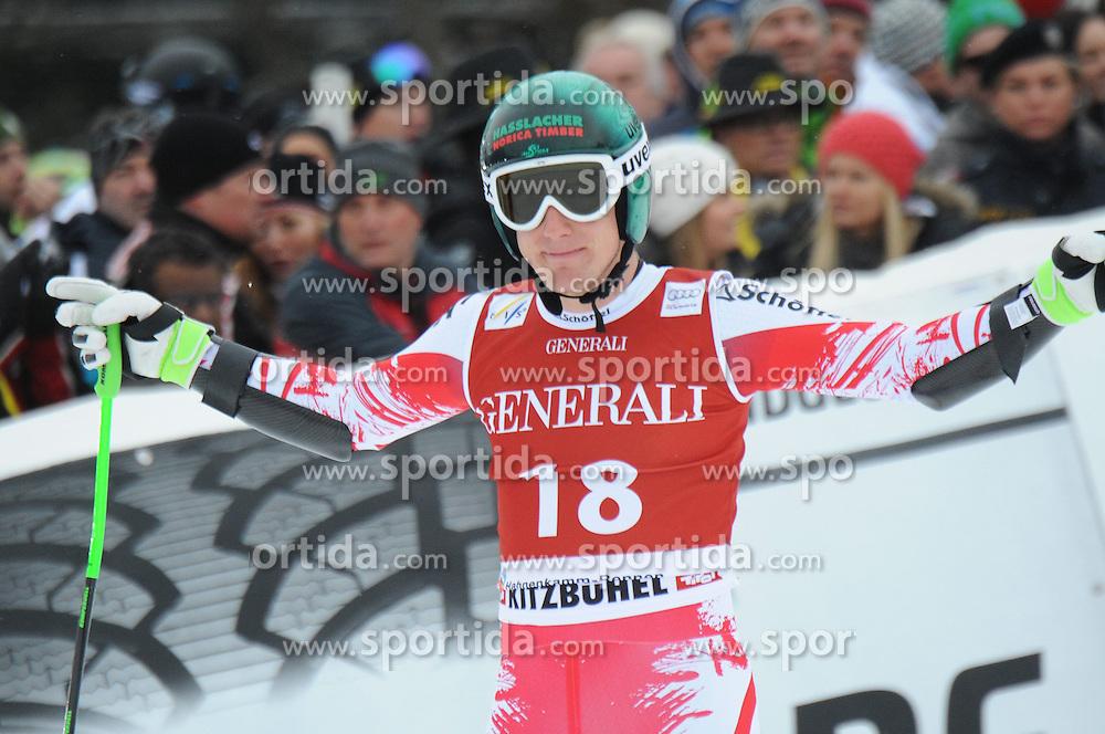 23.01.2015, Streif, Kitzbuehel, AUT, FIS Ski Weltcup, Supercombi Super G, Herren, im Bild Otmar Striedinger (AUT) // Otmar Striedinger of Austria reacts after his run of the men's Super Combined Super-G of Kitzbuehel FIS Ski Alpine World Cup at the Streif Course in Kitzbuehel, Austria on 2015/01/23. EXPA Pictures © 2015, PhotoCredit: EXPA/ Erich Spiess