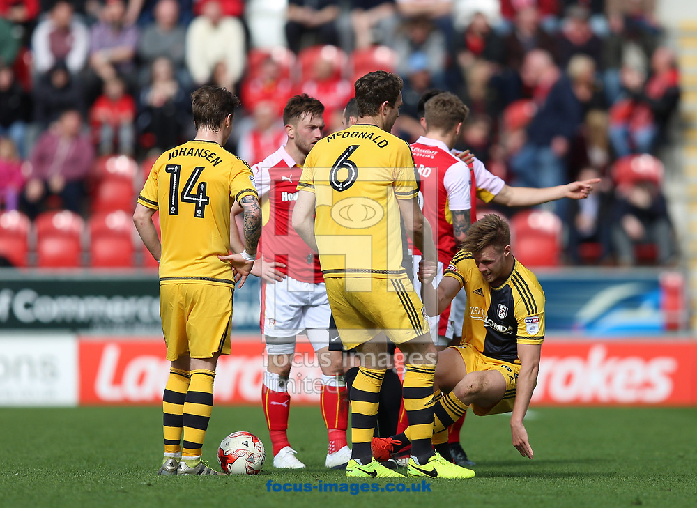 Tomas Kalas (right) of Fulham down injured during the Sky Bet Championship match at the New York Stadium, Rotherham<br /> Picture by James Wilson/Focus Images Ltd 07709 548263<br /> 01/04/2017