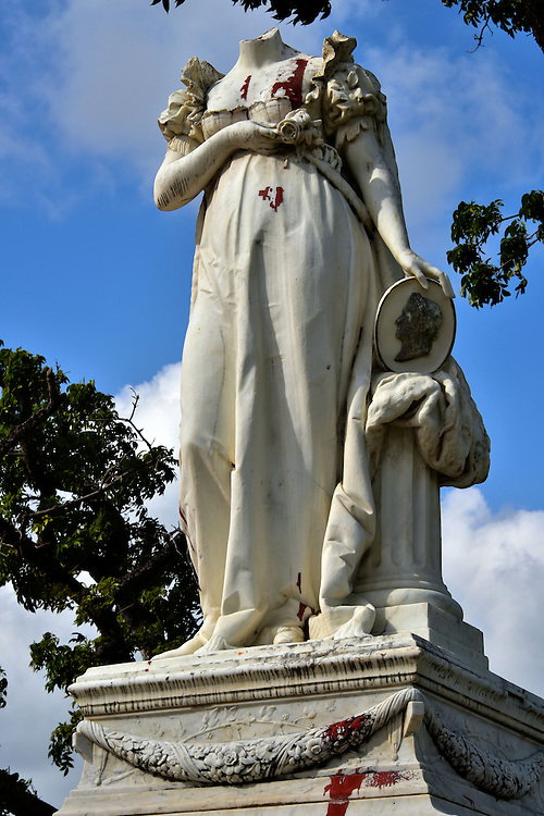 Statue of Beheaded Empress Jos&eacute;phine in Fort-de-France, Martinique <br />
