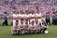 UEFA European Championship - West Germany 1988<br /> 11.6.1988, Niedersachsenstadion, Hannover.<br /> Group 1, Denmark v Spain.<br /> Denmark line-up, standing from left: Søren Busk, Søren Lerby, Michael Laudrup, Preben Elkjær-Larsen, Ivan Nielsen.<br /> Kneeling: John SIvebæk, Jan Heintze, Flemming Povlsen, John Dulle Helt, Morten Olsen, Trøls Rasmussen.