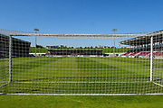 Sixfields Stadium viewed through the goal net  during the EFL Sky Bet League 1 match between Northampton Town and Oldham Athletic at Sixfields Stadium, Northampton, England on 5 May 2018. Picture by Dennis Goodwin.