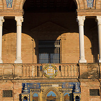 Detail of one of the arches and one of the tiled alcoves, Plaza de España, Sevilla, Andalucia, Spain.