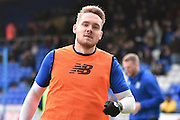 Bury Defender, Chris Hussey warms up before the Sky Bet League 1 match between Oldham Athletic and Bury at Boundary Park, Oldham, England on 23 January 2016. Photo by Mark Pollitt.