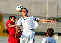 Fotball , 6. juni 2009 VM-kvalifisering , Norge - Makedonia<br />  0-0<br /> Brede Hangeland Norway and Goran Popov (L) FYR Macedonia<br /> WC-qual.<br /> Norway - Macedonia